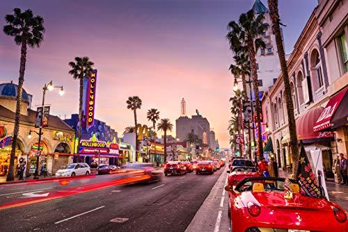 VLIES Fototapete-HOLLYWOOD-500x280 cm-10 Bahnen-(221060)-Inkl. Kleister-EASYINSTALL PREMIUM-Los Angeles LA Kalifornien Neon Lichter Palmen Sterne Autos Himmel Straße City Stadt Filme Kino USA
