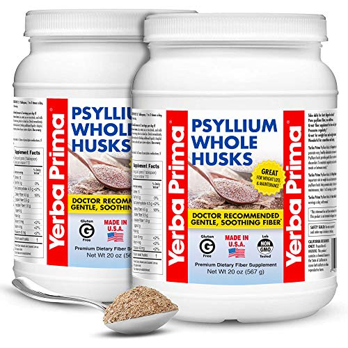 Yerba Prima PSYLLIUM Whole HUSKS Colon Cleanser, 20oz - 2 Pack (114 Servings Each)