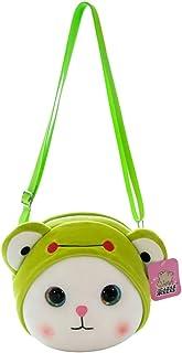 GaLon Cute Cartoon Children Plush Toy Shoulder Bag Coin Purse Messenger Bag For Children Toddler Baby Girls (Color : Frog)