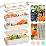 Edtsy Bento box for kids and adults with Dividers 1100 ml - Leakproof lunchbox with utensils - Lunch Solution Offers Durable, Leak-Proof, On-the-Go Meal and Snack Packing (Beige)