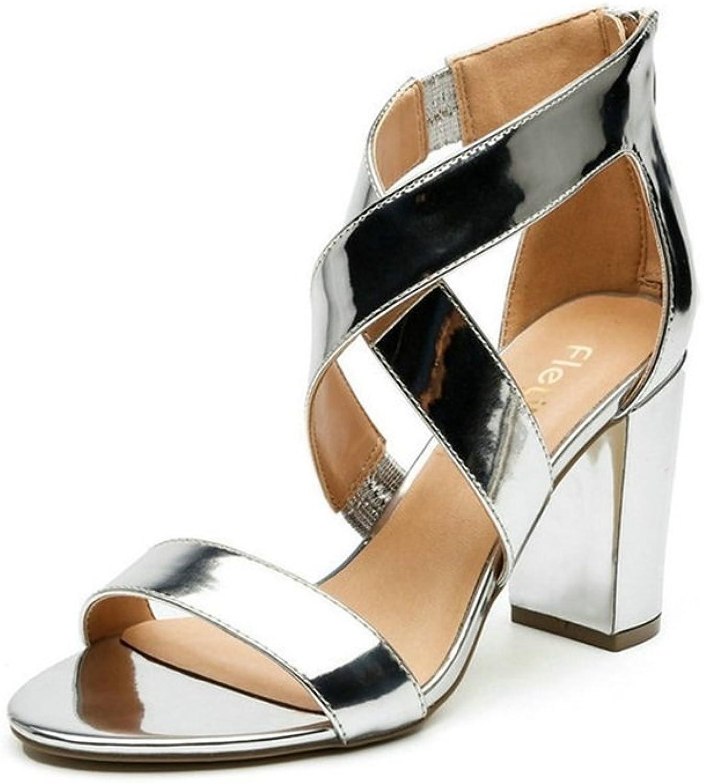 TMKOO 2018 Neue High-Heeled Schuhe Europa und die Vereinigten Staaten Sexy Damen Schuhe Metall Pailletten Wilden Sandalen Party Schuhe Freizeitschuhe (Farbe   Silber, Größe   Us8.5 eu39 uk6.5 cn40)  | Günstigstes