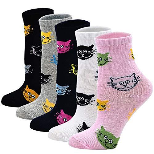 LOFIR Kinder Socken Mädchen Strümpfe aus Baumwolle Kleinkind Karikatur Niedliche Tiermuster Socken Lässige bunte Katzensocken, Größe 31-34, für 8-11 Jahre, 5 Paare