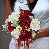 Rinlong Wedding Bouquet for Bride Bridal Bridesmaid Vintage Artificial Flowers Red Silk Rose Bouquet Home Wedding Decoration