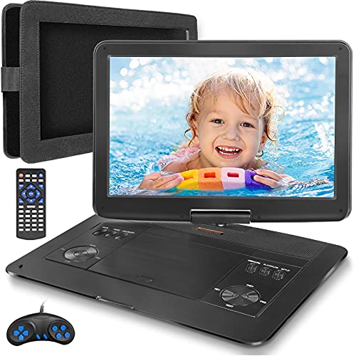 Jekero 16.9   Portable DVD Player with 14.1   HD Swivel Screen Car DVD Player Portable 5 Hrs Rechargeable Battery Mobile DVD Player for Travel with Car Charger, Car Headrest Mount, USB SD Card Sync TV