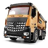 PBTRM 1:14 RC Camión Volquete Vehículo Metal Juguete, Construcción Plástico Resistente Control Remoto Funcional Completo Tractor Luces