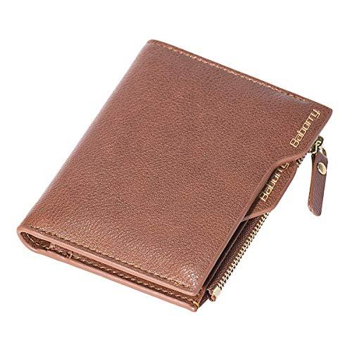 Ybzx Bluemeow Cartera Corta de Cuero Genuino para Hombre con Bloqueo RFID, Billetera Plegable en Efectivo, Tarjetero con Cremallera, Monedero de Viaje con Caja de Regalo (Caqui)