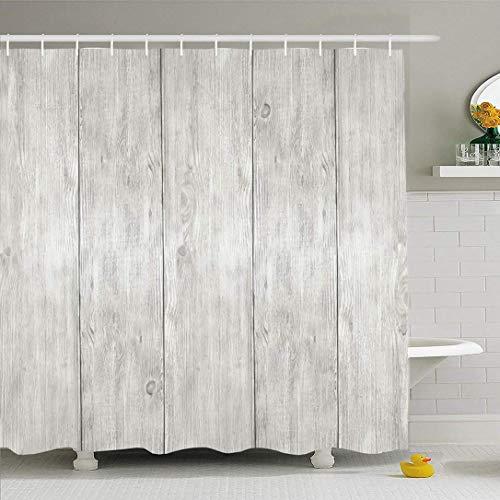 Juego de cortinas de ducha Ahawoso con ganchos Blanqueado con textura de madera Ver tablones Tablas de encofrado Panel vertical Tablero Texturas de textura Vacío Impermeable Tejido de poliéster Decora
