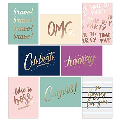 Juego de 48 tarjetas de felicitación – perfecto para tarjetas de felicitación de graduación – 8 tarjetas de felicitación doradas – con sobres y caja – 4.25 x 5.75...