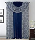 Luxury Home Collection Complete Window Sheer Curtain All-in-One Set With 4 Attached Panels And 2 Attached Valance with Beads- Window Curtain For Living Room, Bedroom, or Dining Room (Leaves Navy Blue)