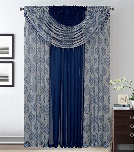 4 Panels with Attached Valances All-in-One Navy Blue Leaves Sheer Rod Pocket Taupe White Curtain Panel 84 Inches Long Crystal Beads - Window Curtains for Bedroom, Living Room or Dinning Room