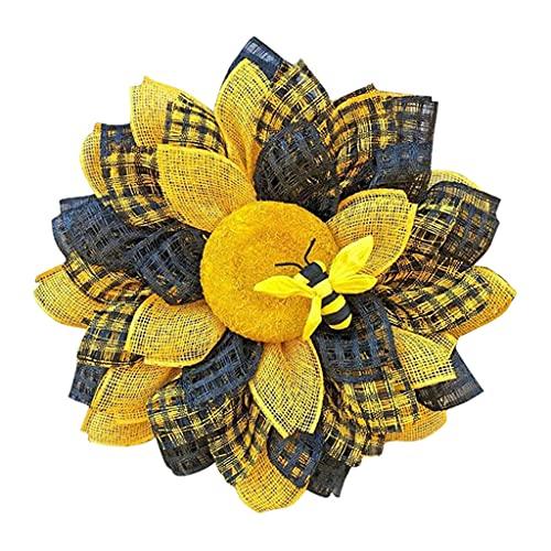 FLAMEER Guirnalda de Primavera de 13 Pulgadas para la Puerta Frontal Guirnalda Floral de la Puerta para la Pared de la Ventana de la Boda decoración del hogar