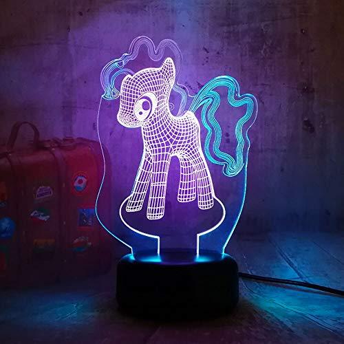 Jiushixw 3D acryl nachtlampje met afstandsbediening van kleur veranderende bureaulamp schattige My Pony Mix twee kinderen glanzend eettafel olie lamp glas