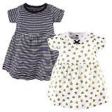 Hudson Baby Girl's Cotton Dresses, Black Gold Heart, 0-3 Months