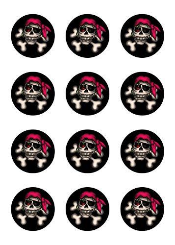 Muffinaufleger Cupcakes Muffins Kindergeburtstag Piratenparty Totenkopf Pirat Seefahrt PT01