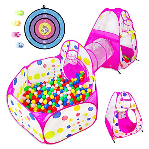 HIHIYO 5pc Kids Play Tent Crawl Tunnel,Pop up Ball Pit with Basketball Hoop for Toddlers/Babies,Foldable Playhouse Tents Toys for Girls & Boys Indoor Outdoor w/Pink Carrying Case,Great Birthday Gift