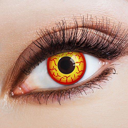 aricona Kontaktlinsen – gelbe-rote Horror Halloween Kontaktlinsen - intensive gelb rote Jahreslinsen für Halloween