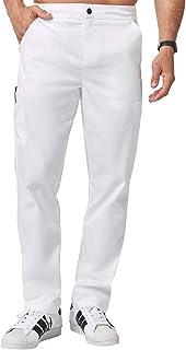 Jaanuu Men's Scrubs Straight Leg Pants W/Zipper | Short Inseam | Male Fashion Medical Workwear Clothing for Nurse or Doctor
