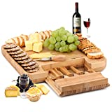 Natural Bamboo Cheese Board & Charcuterie Platter w/Hidden Drawer for Cheese...