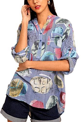 Lniana koszula damska, letnia tunika, długa bluzka, rękaw 3/4, wzór Art Print, niebieski, S/M