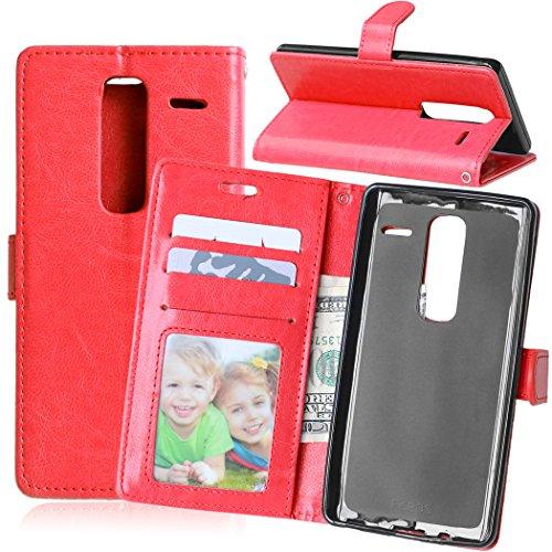 Fatcatparadise Kompatibel mit LG Zero Class Hülle + Bildschirmschutz, Flip Wallet Hülle mit Kartenhalter & Magnetverschluss Halterung PU Leder Hülle handyhülle (Rot)