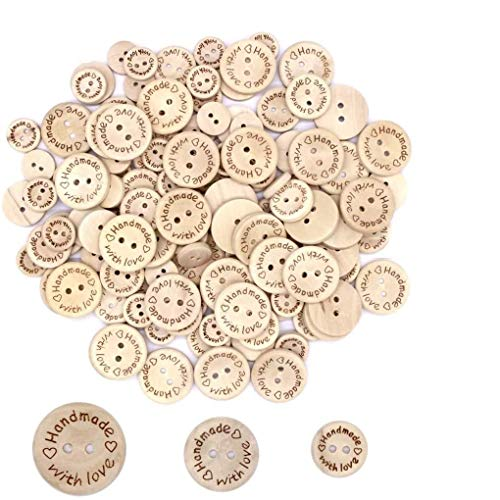 "JZK 300 Piezas botones de madera con frase"" Handmade, With love"", 15mm, 20mm, 25mm botón redondos de madera con dos agujeros para manualidades de DIY coser artesanía ropita bebé"