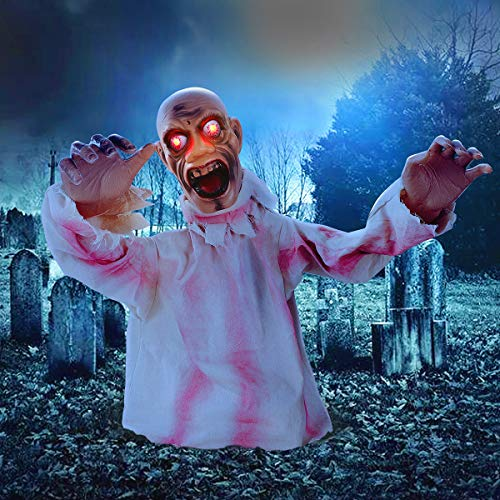 HXS Halloween Decorations Groundbreaker Zombie Activated Halloween Props Movable Groundbreaker Zombie with LED Glowing Eyes and Sound Induction for Indoor, Outdoor, Yard, Party, Graveyard Decorations