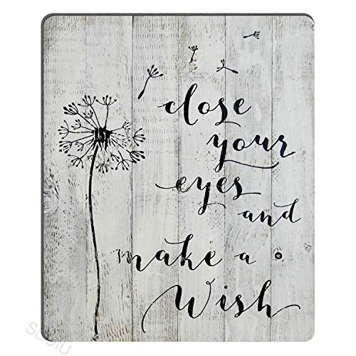SSOIU Close Your Eyes and Make A Wish - Rustic White Barn Wood Sign Antique Vintage Decor with Dandelion Floral Design Inspirational Quote Mouse Pad Gaming Mat