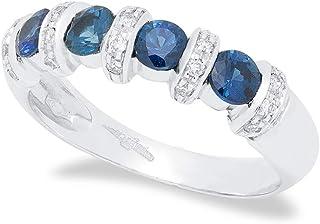 B.&c.gioielli anello donna in oro bianco 18 kt arricchito da 0,12 ct di diamanti taglio brillante f vvs e 0,73 an11
