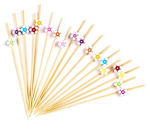 "PuTwo Cocktail Picks Handmade Bamboo Toothpicks 100pcs 4.7"" in Multicolor Flower"