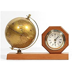 Living Plus Natural Wooden Table Clock With Rotating Gold Globe