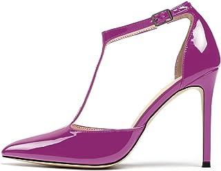 EDEFS Scarpe con Chiusura a T Donna,Scarpe con Cinturino Donna,Scarpe da Donna con Tacco Alto 10CM