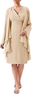 Mother of The Bride Dresses with Jacket Short Prom Dress Chiffon Beaded Evening Gowns PlUSSize