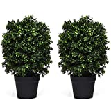 Goplus 2 Pack 2Ft Artificial Boxwood Topiary Ball Tree, UV-Proof Realistic Leaves & Cement-Filled Pot, Fake Plant for Home Office Outdoor and Indoor Decor