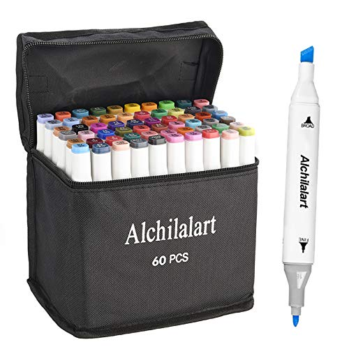 60-Colors Alcohol Markers, Alchilalart Sketching Markers Set, Double Tipped, Artist Art Markers for Kids Adults Illustration Markers