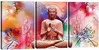 SND Art UV Textured Set of 3 Modern Art Print MDF Frame Wall Painting for Living Room Wall for Home Decoration (12 X 4.5 i...