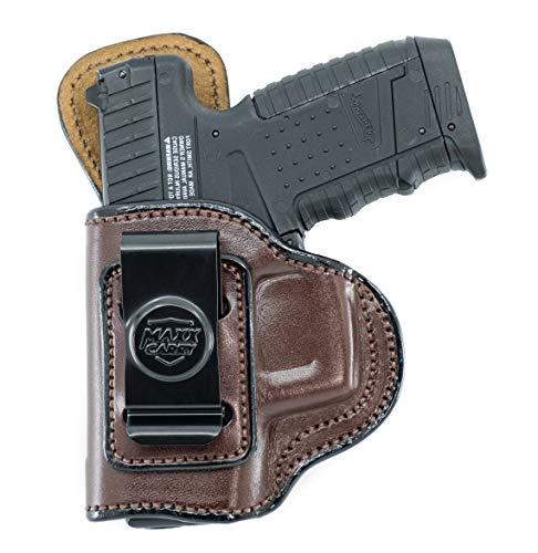 Maxx Carry IWB Leather Gun Holster Compatible with Glock 43, 43X 9mm | Walther PPS, PPS M2 | Springfield XDS 3.3, Hellcat | S&W M&P 380 Shield EZ | Beretta APX Carry | Brown, Left Hand Draw