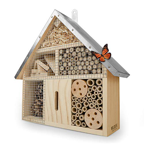 WILDLIFE FRIEND Insect Hotel with Metal Roof, Untreated, Insect House made of Natural Wood for Bees, Ladybirds, Florflies & Butterflies, Bee Hotel & Nesting Aid