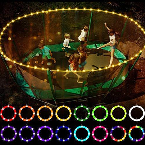POHOVE Luces LED de trampolín de 16 colores cambian control remoto para cama elástica de 12 pies mini luces LED de aro para juegos de playa, juego de espiga