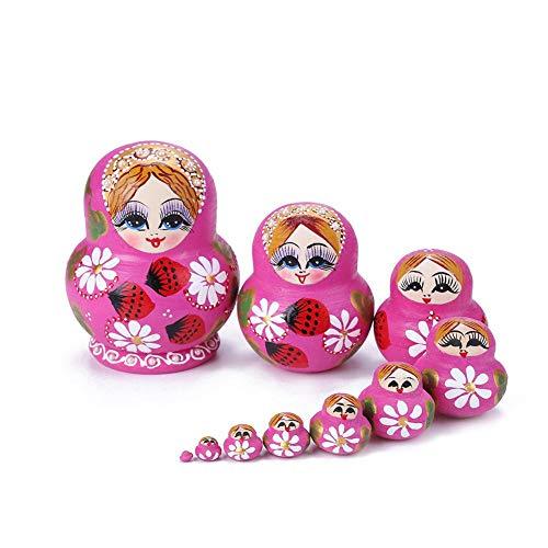 Nistpuppen, 10 Stück Erdbeerblumenmädchen Nistpuppen Matroschka Russische Puppe Set Spielzeug