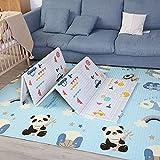 Alfombra Gateo Infantil Impermeable, Reversible y Plegable 160x180x1cm. Esterilla Bebe Ideal para la habitación del niño o la niña. Gran formato SUPERBE BEBE (C)