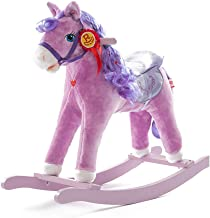 Rocking Horse Children's Trojan Solid Wood Music Toy Rocking Chair Princess Birthday Gift (Color : Purple) XIUYU (Color : Purple)