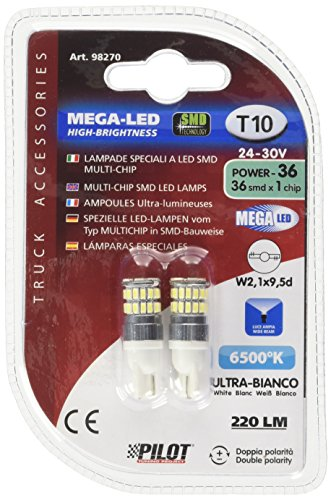 Pilot Mega LED 36smd T10 24–30 V Lot de 2