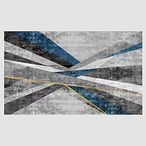 VBUEFM Lujosa Alfombra Moderna para Salón habitación de los Niños Dormitorio - Alfombra Antideslizante Muy Suave, Lavable, Patrón Geométrico Azul Negro Gris 160 x 230 cm