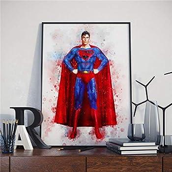 Superhero Watercolor Painting Abstract Superhero Wall Art Superman Posters Pop Art Street Canvas Prints Kids Room Boy Bedroom Home Decor Multiple Size Cuadros de pared de Sala Unframed