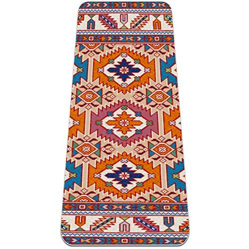Esterilla Yoga Mat Antideslizante Profesional - Patrón de marco de borde de alfombra - Colchoneta Gruesa para Deportes - Gimnasia Pilates Fitness - Ecológica