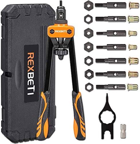 REXBETI 14 Rivet Nut Tool Professional Rivet Setter Kit with 7 Metric Sae Mandrels and 60pcs product image