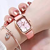 ZWH Aliexpress Explosion Fashion Damas Reloj Tendencia Simple Casual Cinturón Calendario Mujer Cuarzo Reloj Impermeable (Color : Sakura Powder 68670)
