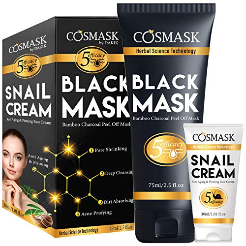 COSMASK Blackhead Remover Mask,Bamboo Charcoal Peel Off Black Mask,Purifying and Deep Cleansing for All Skin Types with Snail Cream