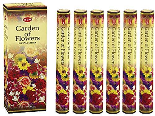 Hem 6 Pack 20 Gram Tuin Van Bloemen - Doos Van Zes 20 Stick Zeskant Buizen - Hem Wierook Hand Gewalst In India
