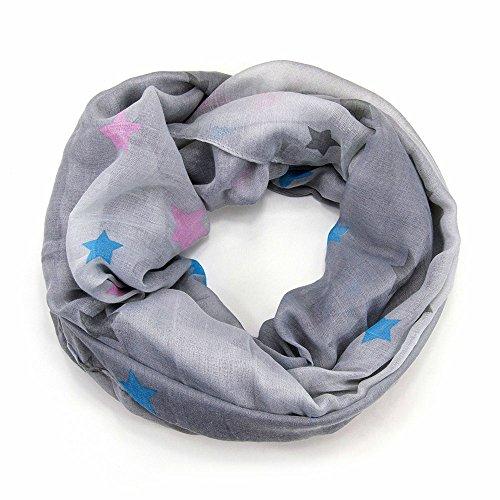 MANUMAR Loop-Schal für Damen | Hals-Tuch in Grau mit Stern Motiv als perfektes Herbst Winter Accessoire | Schlauchschal | Damen-Schal | Rundschal | Geschenkidee für Frauen und Mädchen